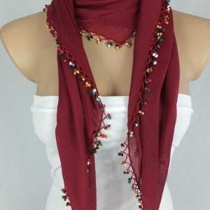 Bordeaux -maroon scarf with crochet..