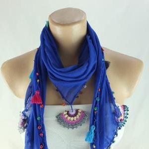 Blue scarf , cotton scarf with croc..