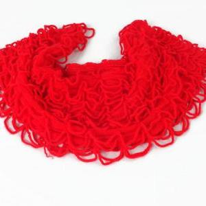 Red infinity scarf, knitted scarf, ..
