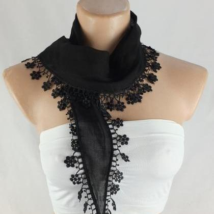 Black cotton scarf, cowl with lace ..