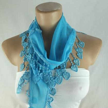 Light blue scarf, cotton scarf,cowl..