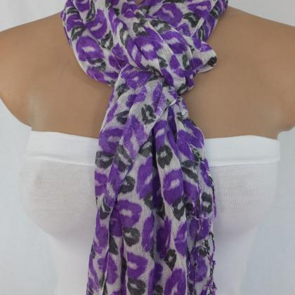 Purple scarf, lips printed scarf, l..