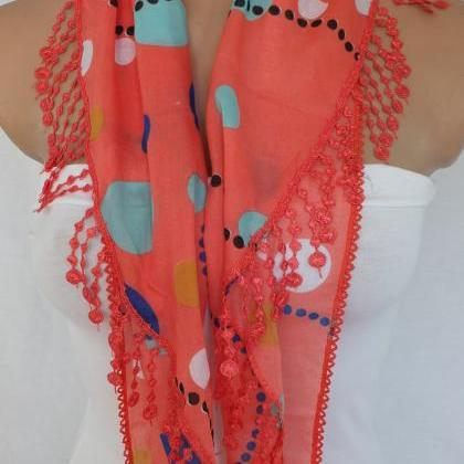 Red dots scarf,coral red fashion sc..