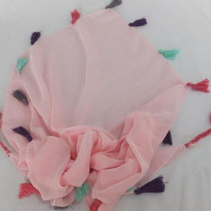 Pink chiffon scarf, Trendy fashion ..