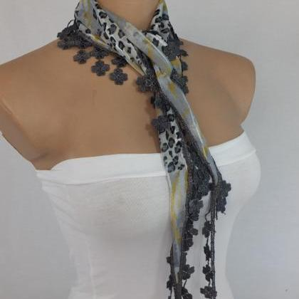 Gray-yellow chiffon scarf, woman fa..