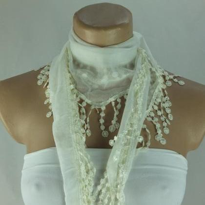 cream color fringed scarf, cotton s..