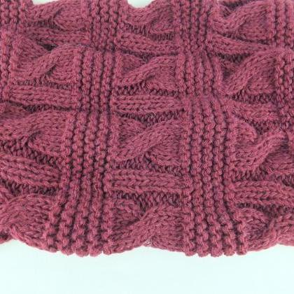 Knit infinity scarf, Bordeaux scarf..