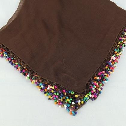 Brown scarf wtih crochet bead edges..
