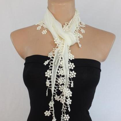 cream-off white cotton scarf, woman..