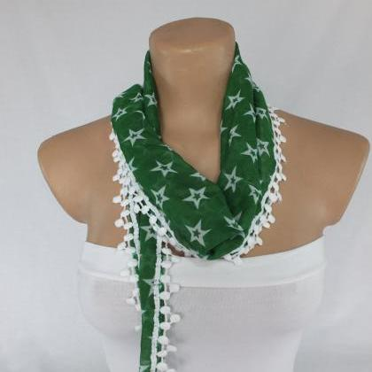 Green cotton scarf, cowl with polye..
