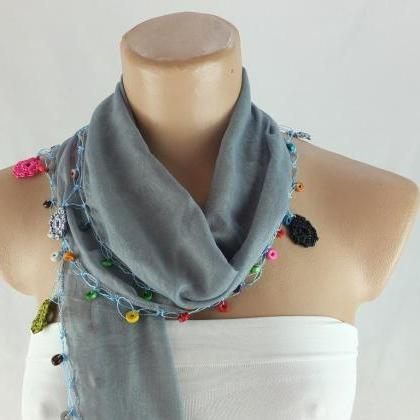 Blue-Gray Cotton scarf with crochet..