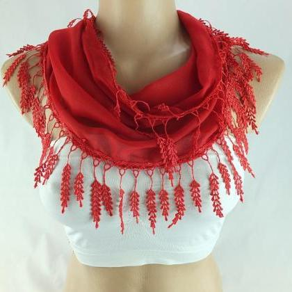 Red scarf , lace trim scarf, fringe..