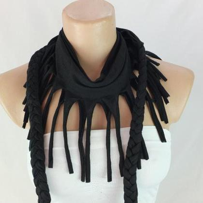 Black tshirt scarf with braided edg..