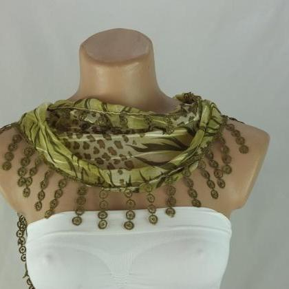 Green chiffon scarf, fashion scarf,..