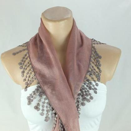 Cotton scarf, fringed scarfcowl wit..
