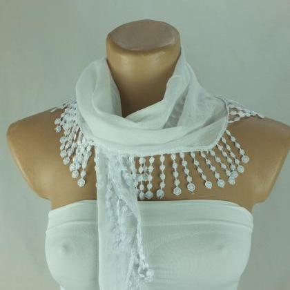 White fringed scarf, cotton scarf, ..