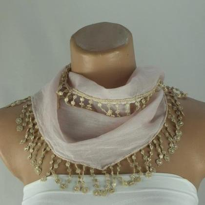Pale pink scarf, cotton scarf, cowl..
