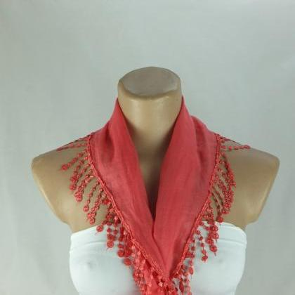 Coral red cotton scarf, cowl with p..
