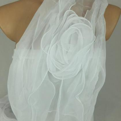 White bridal scarf,3d rose scarf sh..