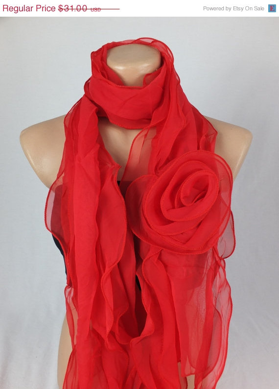 Red scarf Shawl, 3d Rose Scarf shawl, Woman scarf, gift for her