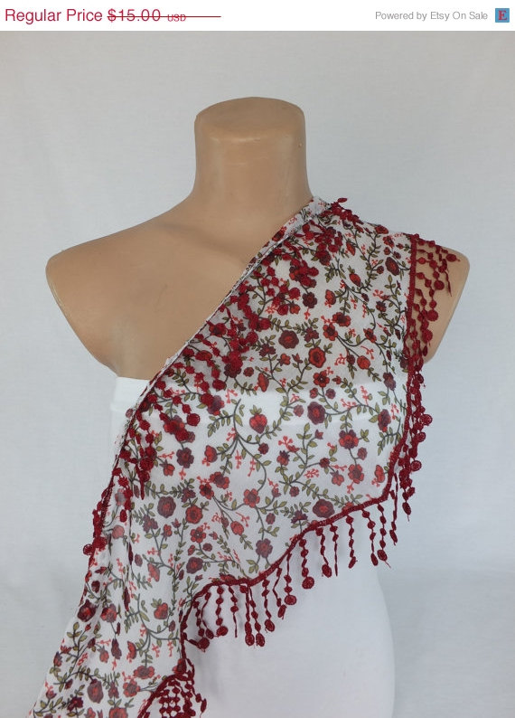 White floral scarf, cotton scarf, cowl with polyester trim,neckwarmer, scarf necklace, foulard,scarflette,