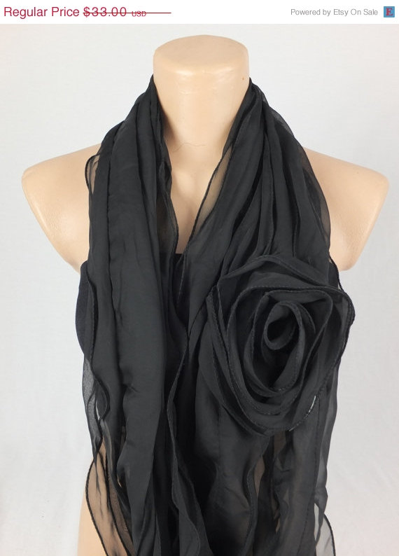 Black scarf, 3d Rose scarf shawl, Ruffle woman scarf, Christmas gift, gift for her