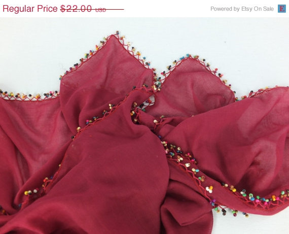 Bordeaux -maroon scarf with crocheted bead edges, Square head scarf,traditional Turkish scarf shawl, gift for her,