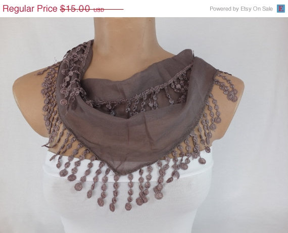 Summer scarf, cotton scarf, cowl with polyester trim,neckwarmer, scarf necklace, foulard,scarflette,