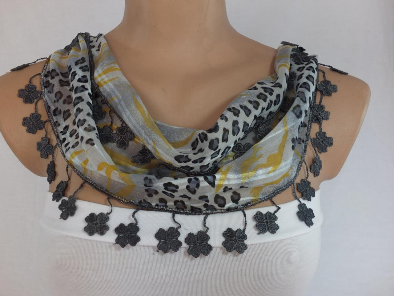 Gray-yellow chiffon scarf, woman fashion scarf, cowl with lace trim,women accessory,neckwarmer, scarf necklace, foulard,scarfl