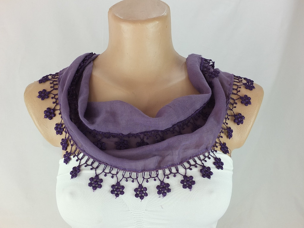 Purple scarf, cotton scarf,woman fashion scarf, cowl with flower lace trim,women accessory,neckwarmer, scarf necklace, foulard,scarflette,