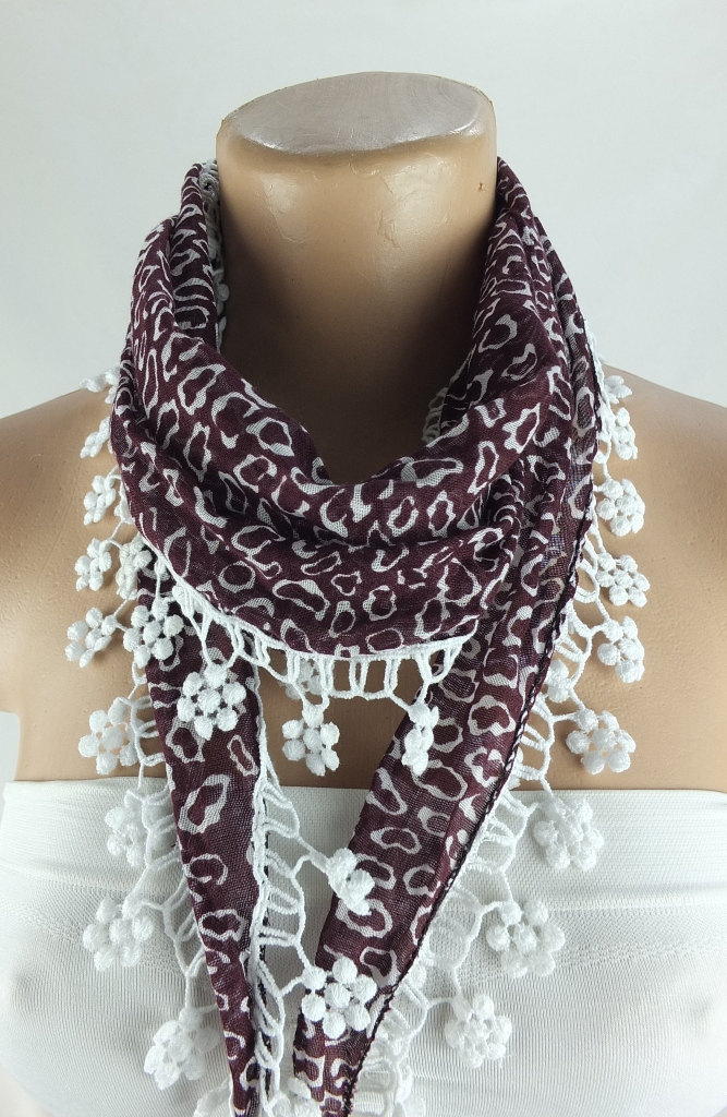 Maroon scarf, cotton scarf, woman fashion scarf, cowl with flower lace trim, flower trim scarf women accessory,neckwarmer, scarflette,