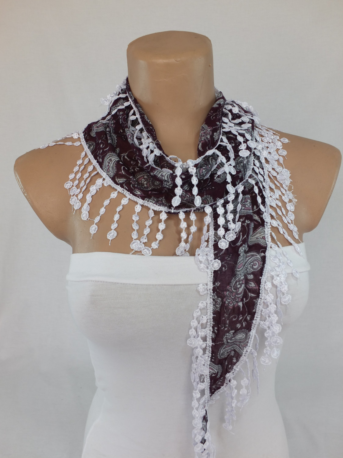 Purple paisley scarf, fringed scarf, cotton scarf, cowl with polyester trim,neckwarmer, scarf necklace, foulard,scarflette,