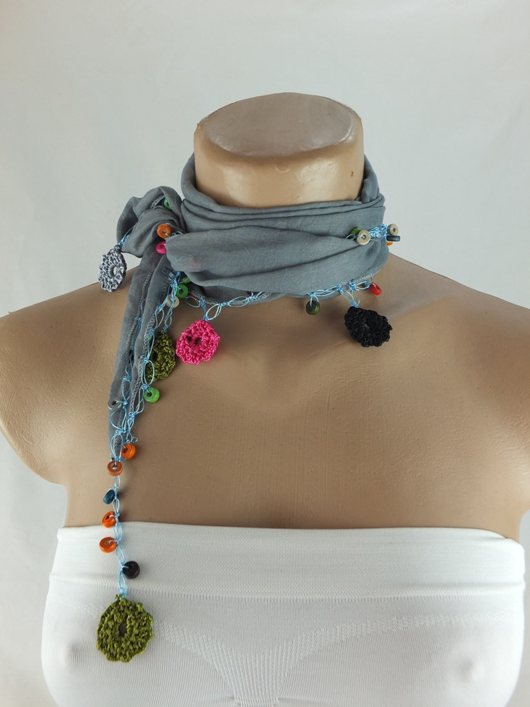 Blue-Gray Cotton scarf with crochet flower edges ,scarflette , cowl with crochet flowers , scarf necklace, cotton blue foulard, gift for her