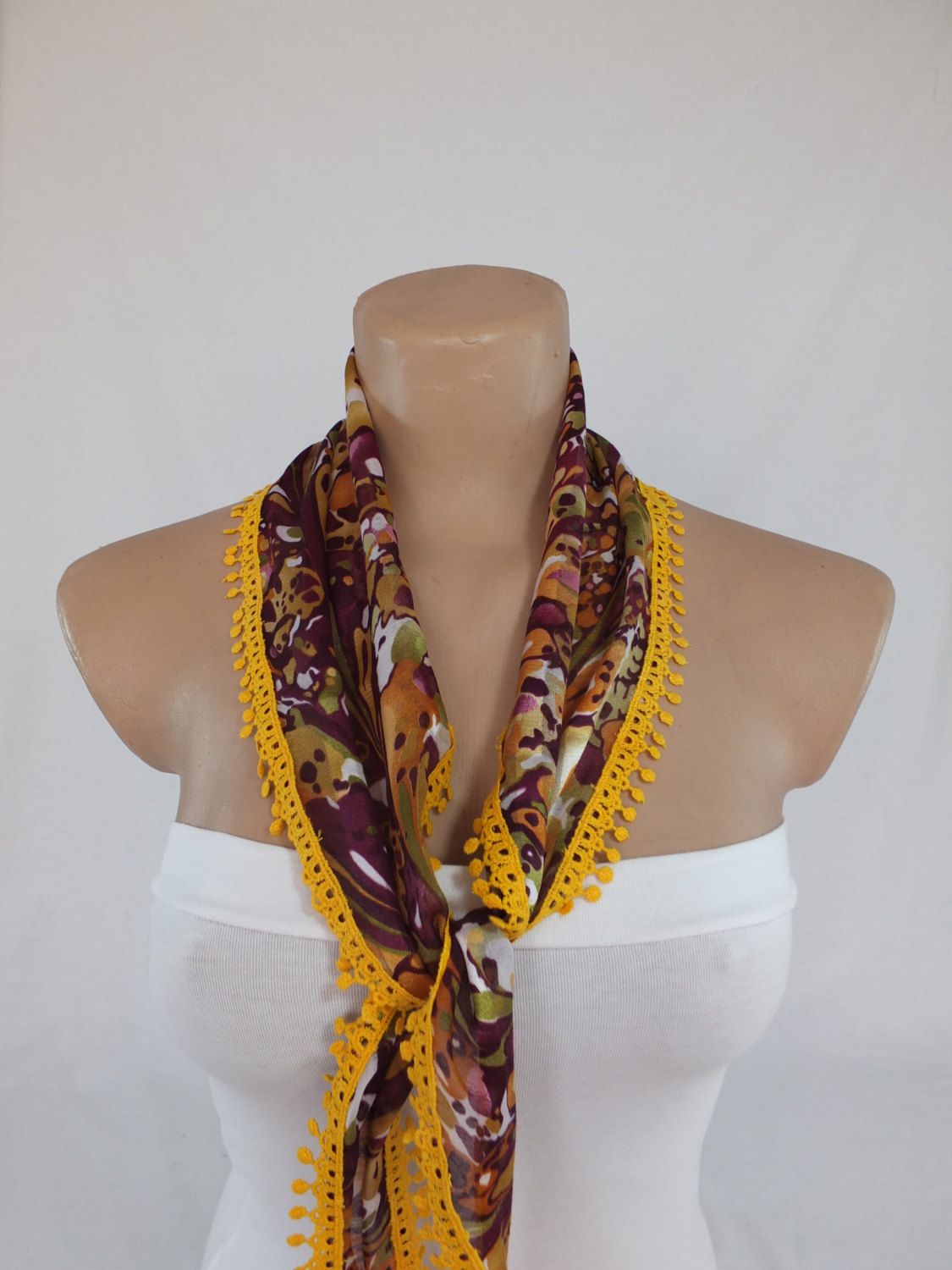 Multicolor chiffon scarf, fashion scarf, cowl with polyester trim,summer scarf, neck scarf, foulard,scarflette,bandana