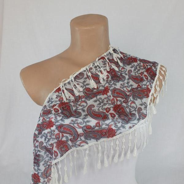 paisley scarf, fringed scarf, cotton scarf, cowl with polyester trim,neckwarmer, scarf necklace, foulard,scarflette,