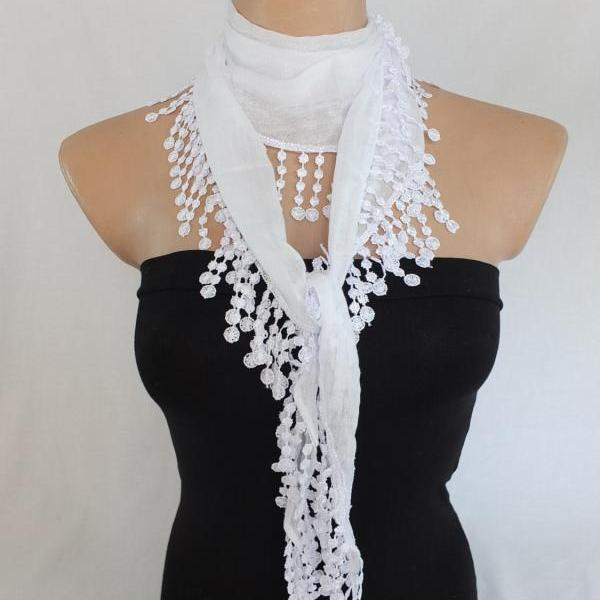 White scarf, fringed scarf, cotton scarf, cowl with polyester trim,neckwarmer, scarf necklace, foulard,scarflette,