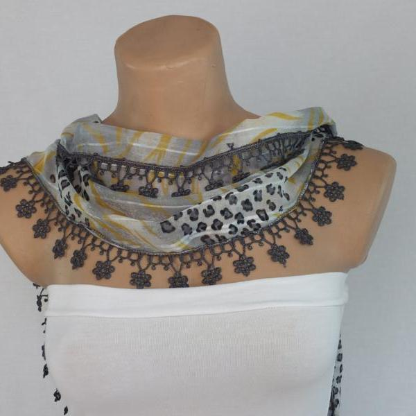 Gray-yellow chiffon scarf, woman fashion scarf, cowl with lace trim,women accessory,neckwarmer, scarf necklace, foulard,scarflette,