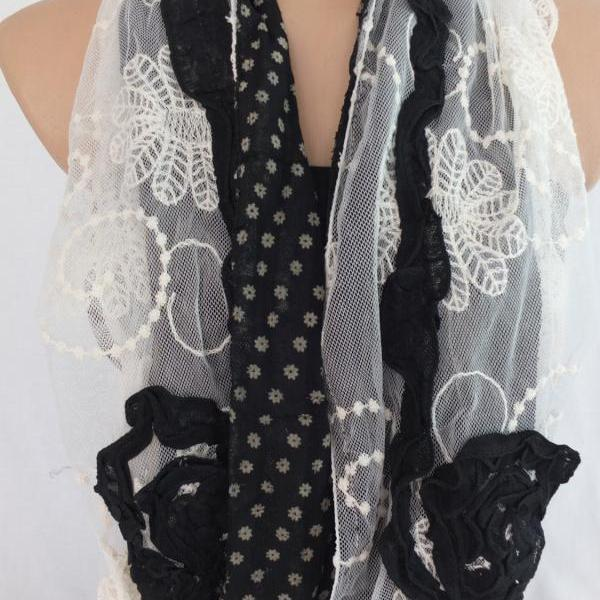 Woman fashion scarf , tulle and cotton scarf, black and cream shawl, long scarf shawl, lace cowl, gift for her