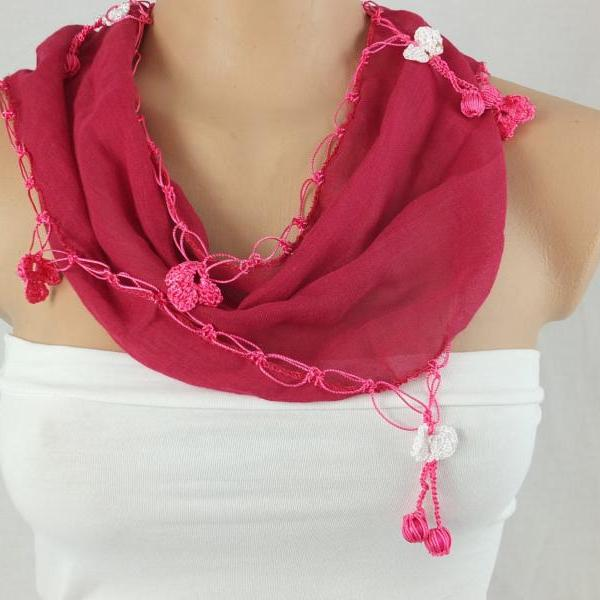 Fuchsia scarf ,hot pink cotton scarf with hand crochet edges , Turkish scarf,scarf necklace, foulard,scarflette,christmas gift