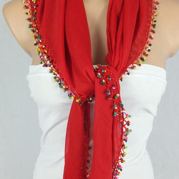 Red scarf with crocheted bead edges, Square head scarf,traditional Turkish scarf shawl, gift for her,